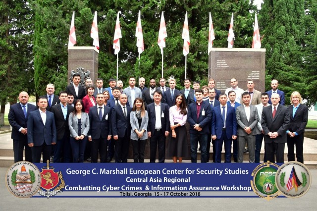 TBILISI, Republic of Georgia (Oct. 17, 2018) - The George C. Marshall European Center for Security Studies Program on Cyber Security led a cybersecurity workshop for Central Asian states, in partnership with the Georgian Ministry of Internal Affairs Academy in Tbilisi, Republic of Georgia from Oct. 15 to 17. For more photos, visit the Marshall Center Photo Gallery. (DOD photo by U.S. Army Master Sgt. Corey Dennis/RELEASED)
