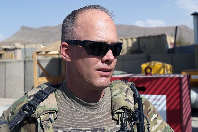 Shown is Sgt. 1st Class Kevin Rutherford, 1st Security Force Assistance Brigade at Forward Operating Base Lightning Oct. 10. Besides this tour in Afghanistan, Rutherford also has two deployments to Iraq totaling 27 months. (Photo by Jon Micheal Connor, Army Public Affairs)
