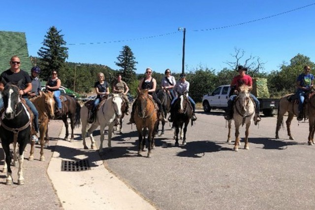 WTB Soldiers and staff on a horseback ride at the United States Air Force Academy, October 15, 2018. (Photo courtesy Fort Carson WTB)