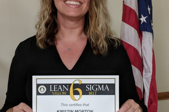 Headquarters Military Surface Deployment and Distribution Command (SDDC) Continuous Process Improvement office recently recognized Kristin Morton, former executive assistant for the 599th Transportation Brigade commander, for completing the process-improvement Yellow Belt course and subsequently saving the Army $42,335 per year in cost avoidance dollars.