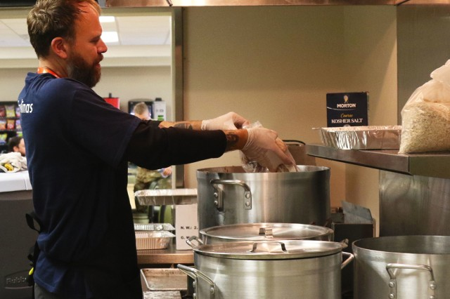 The World Central Kitchen prepares meals to residents and responders after Hurricane Michael made landfall, Oct. 14, 2018, Panama City, Florida. The WCK serves over 4,000 meals a day at the Emergency Operations Center in Panama City.