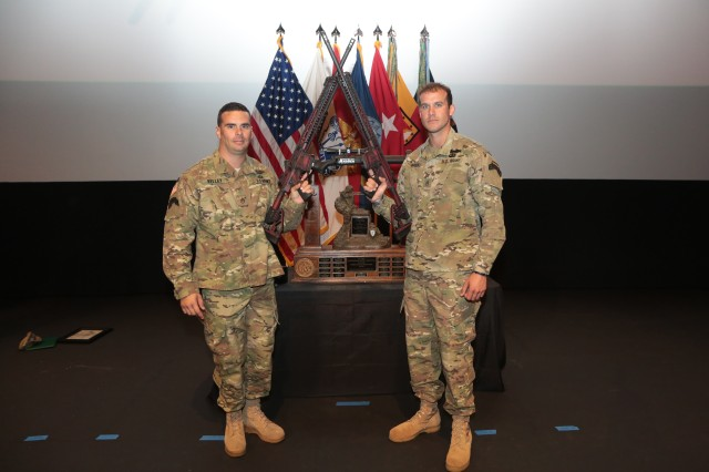 For the second consecutive year, the team from the 75th Ranger Regiment, represented here by Staff Sgts. Brandon Kelley and Jonathan Roque, took first place in the 18th annual International Sniper Competition at Fort Benning, Georgia, Oct. 19, 2018.