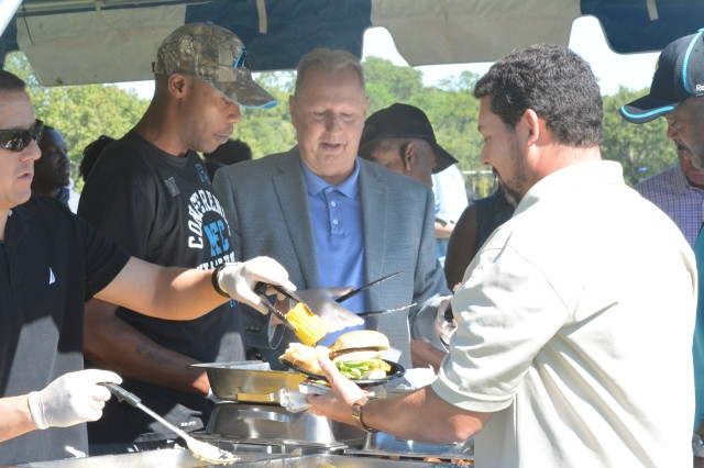 Fort Jackson Garrison commander, Col. Stephen Elder, and Garrison Command Sgt. Maj. Anthony Wilson, and deputy Garrison commander Mark Cox  helped provide employees a break by being servers in the catering line.