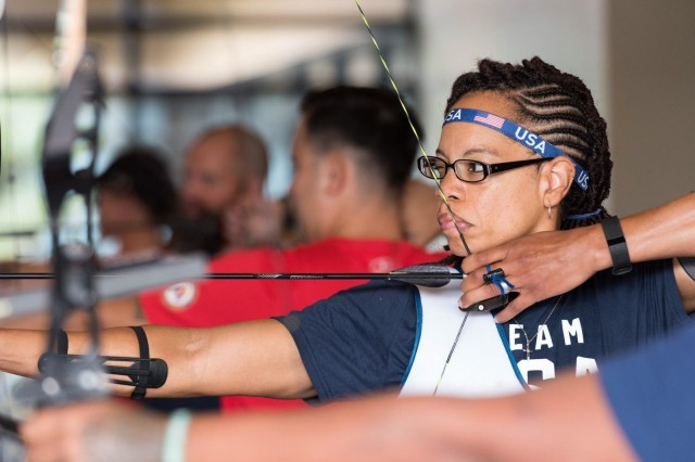 Staff Sgt. Altermese Kendrick takes aim at the target during archery practice at the Team USA Invictus Games training camp at Port Hueneme, Calif. The 2018 Invictus Games will take place from Oct. 20-27 in Sydney, Australia.