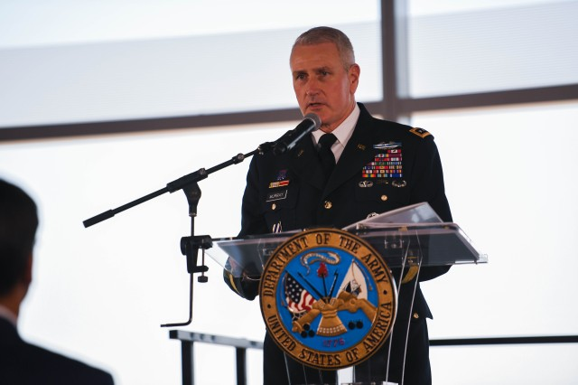 Gen. John M. Murray, commander of U.S. Army Futures Command, speaks at the Army Futures Command activation ceremony in Austin, Texas, Aug. 24, 2018.