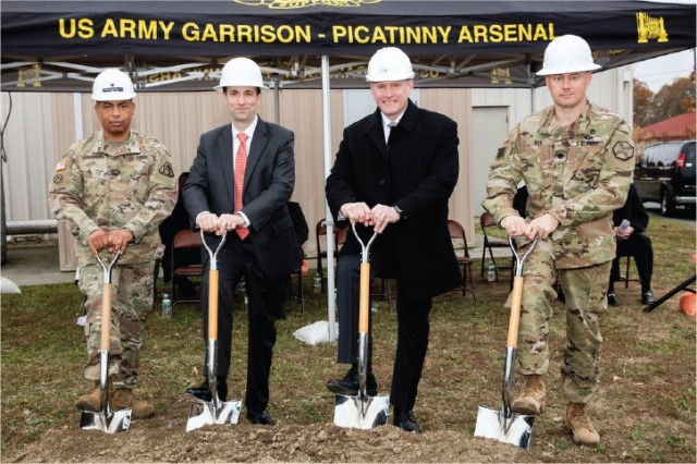 A new cogeneration facility at Picatinny Arsenal is expected to make the installation more energy-efficient. Breaking ground Nov. 7, 2017, are (from left) Brig. Gen. Alfred F. Abramson III, senior commander; Jordan Gillis, acting assistant secretary of the Army installations, energy and environment; Steven Spanbauer, senior vice president, Federal Business Unit, Energy Systems Group; and Lt. Col. Jeffrey Ivey, garrison commander.