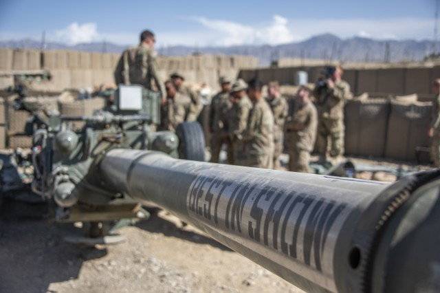 "The words ""Best in Show"" are painted on the tube of an M777 Howitzer belonging to 4th Infantry Division's 2nd Battalion, 12th Field Artillery Regiment, at Camp Dahlke, Afghanistan, Sept. 20, 2018."