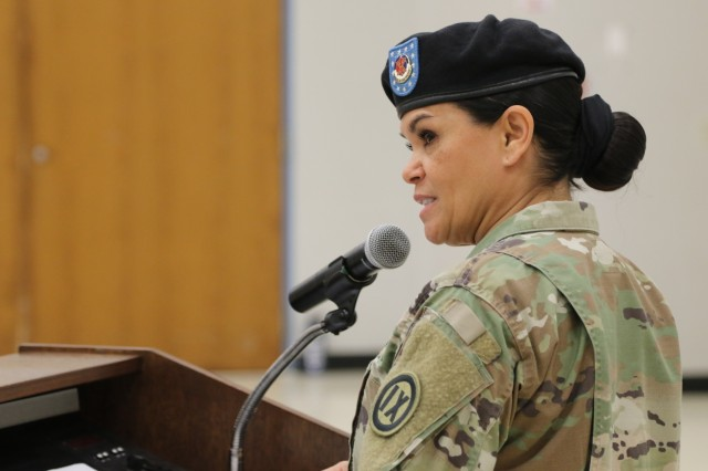 FORT SHAFTER FLATS, Hawaii - Command Sgt. Maj. Jessie Baird, 9th Mission Support Command senior enlisted leader, speaks during the official assumption of responsibility ceremony here Oct. 20, 2018.
