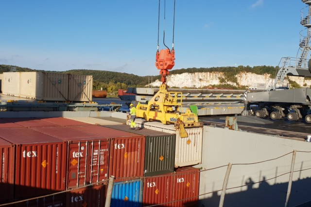 A container of ammunition is offloaded from the Military Vessel Mohawk onto the port at Radicatel, France, Oct. 10-13. It was the first time in 50 years that the U.S. military used a French port for moving equipment and supplies into Europe.