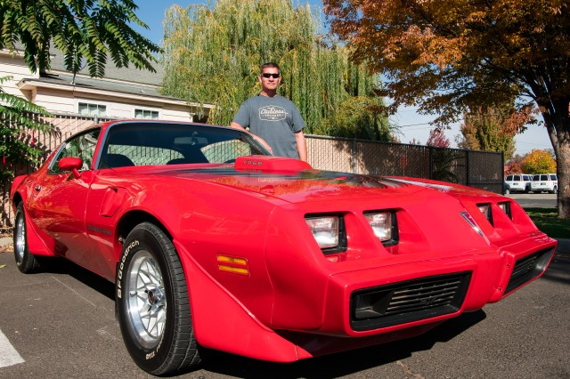 "John Berglin, mechanical engineer shows off his 1979 Pontiac, Firebird Trans Am. It's his favorite car because it's ""fast, it's a lot of fun to drive and it's loud."" John was one of the 15 U.S. Army Corps of Engineers Walla Walla District employees who participated in the ""Wheels to Work"" day, on October 19, 2018 in Walla Walla, Washington."