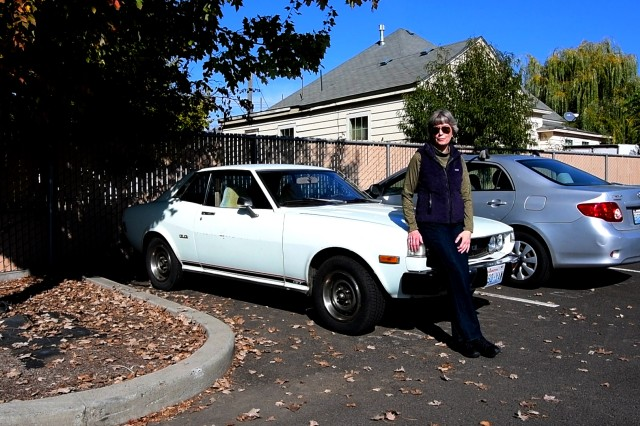 "Sandra (Sandy) Shalin, Environmental Resource Specialist with her 1977 Toyota, Celica named Thumper. In 1978 her grandparents drove from the East Coast to the Pacific Northwest to bring her this car, just so she could drive it to the Walla Walla District for her first day of work. Sandy was one of the 15 U.S. Army Corps of Engineers Walla Walla District employees who participated in the ""Wheels to Work"" day, on October 19, 2018 in Walla Walla, Washington."