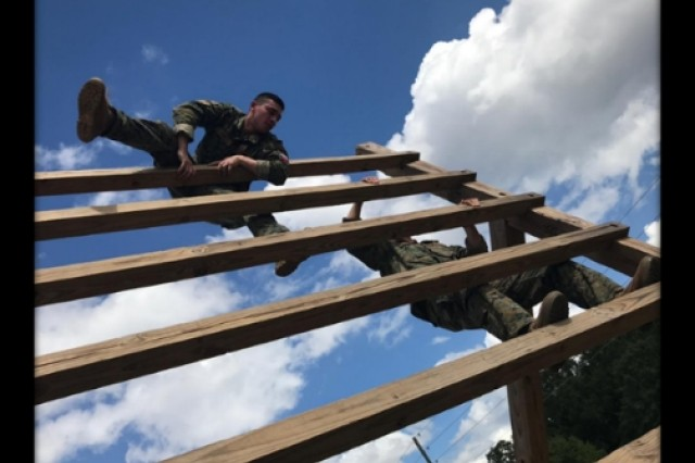Chilean cadets from Chile's Bernardo O'Higgins Military Academy take on the Bolton Range Confidence Course at Fort Benning, Ga. during their training hosted by the Western Hemisphere Institute for Security Cooperation.