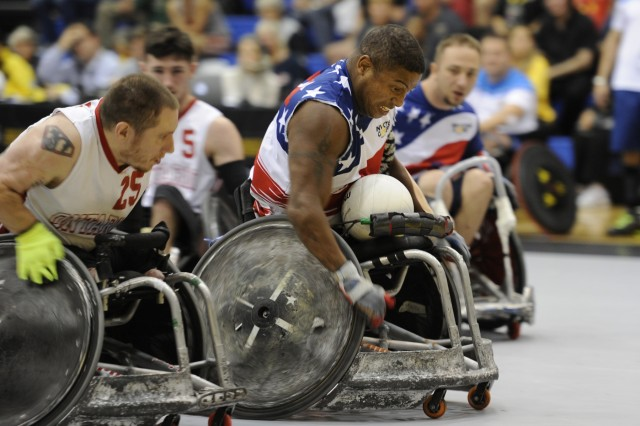 U.S. Army Retired Staff Sgt. Ryan Major participates in wheelchair rugby during the 2017 Invictus Games at the Mattamy Athlethics Centre in Toronto, Canada, Sept. 27, 2017. The Invictus Games are the sole international adaptive sporting event for injured active duty and veteran service members.