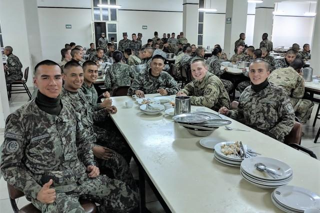 Cadet Christian Goldbach, Eastern Washington University, at dinner during his CULP assignment at Peru's premier military academy, Escuela Militar de Chorrillos.