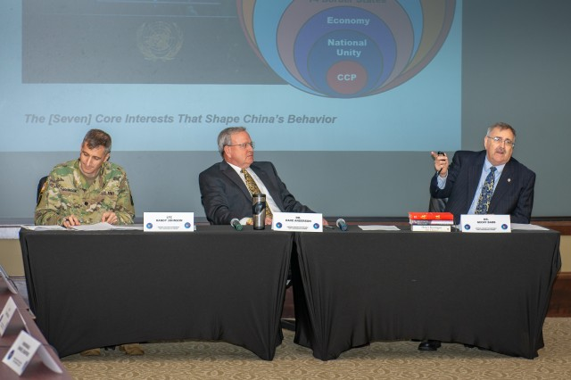 (l-r) Lt. Col. Randy Johnson,  Dr. Dave Anderson (both from the Department of Joint, Interagency and Multi-National Operations) and Dr. Geoff Babb, Department of Military History, lead a discussion on China during the DJIMO and CGSC Foundation hosted National Security Round Table, Oct. 16-17.
