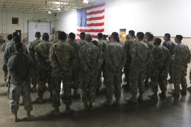 Soldiers with the 949th Brigade Support Battalion receive a briefing ahead of providing support with Texas flood-relief efforts Oct. 17, 2018, in Fort Worth, Texas. Active orders to remain on standby to offer assistance with relief-efforts and evacuations were effective Oct. 17 through Oct. 20.