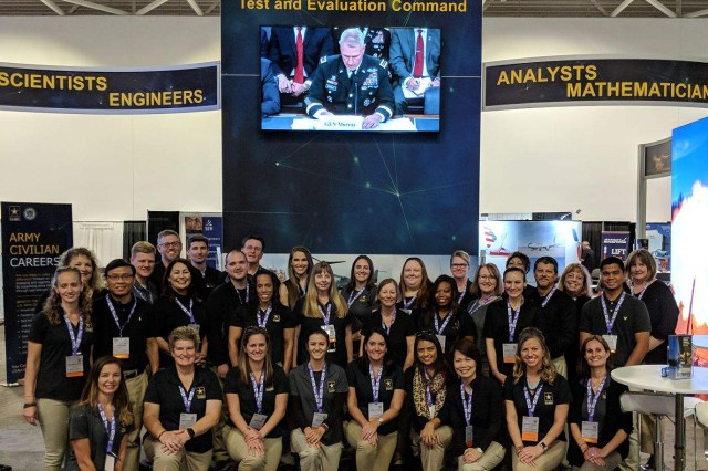 Thirty-one Army Test and Evaluation Command (ATEC) Army civilian employees, to include four from the U.S. Army Operational Test Command (OTC), attended the Society of Women Engineers (SWE) National Conference in Minneapolis, Minn. October 18-20. ATEC employees were on hand to use the Department of the Army's Expedited Hiring Authority (EHA) to make two on-the-spot tentative job offers to top Science, Technology, Engineering, Mathematics (STEM) talent.