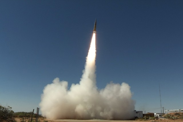 A Sabre short-range ballistic missile launches in June 2017 at White Sands Missile Range, New Mexico, for a test of the Patriot Advanced Capability-3 (PAC-3) Missile Segment Enhancement, an advanced missile defense system. The Army is working alongside the Air Force and Navy to develop the hypersonic weapons capabilities.