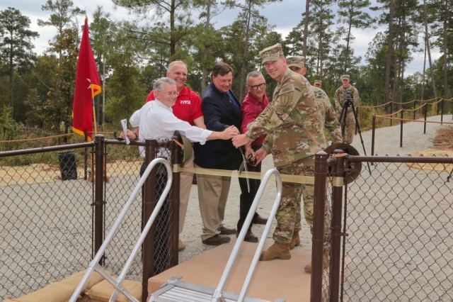 FORT BENNING, Ga. (Oct. 24, 2018) - As part of the garrison's centennial celebration Oct. 19, 2018, Fort Benning, Georgia, officially opened a recreation of the training trenches the U.S. Army Infantry School used on post nearly 100 years ago. (U.S. Army photo by Markeith Horace, Maneuver Center of Excellence, Fort Benning Public Affairs)