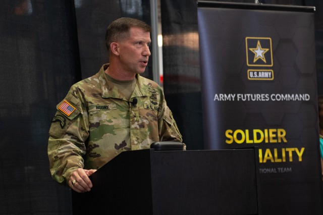 Brig. Gen. David Hodne, the Soldier Lethality Cross-Functional Team director, spoke about the Soldier Lethality team's progress during the Association of the U.S. Army's Annual Meeting and Exposition Oct. 9, 2018.