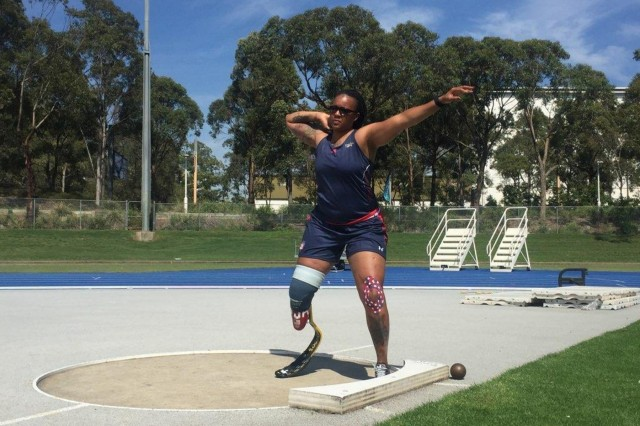 U.S. Army Spc. Stephanie Johnson works on her throwing technique during the Team U.S. Invictus Games Training Camp at Port Hueneme, California. (Photo by Adriane Wilson.)