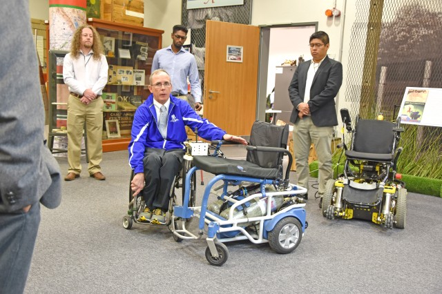 WIESBADEN, Germany -- Army veteran Dr. Rory Cooper shows off medical rehabilitation robotics technologies Oct. 1, 2018, at the Mission Command Center on Clay Kaserne. His pneumatic chair is completely powered by compressed air and therefore completely submersible, making it ideal for the beach or water park.
