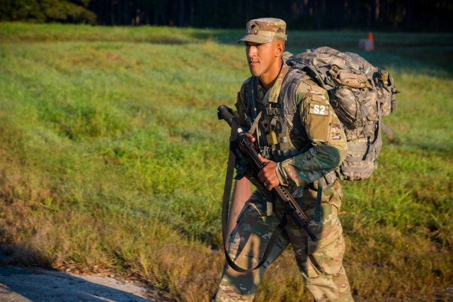 Spc. Jonathan Vazquez competes in the Army level Best Warrior competition at A.P. Hill, Virginia, October, 2018.
