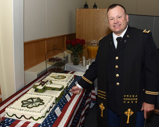 Meticulously made cake served at Chaplain Lester promotion