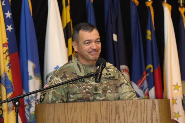 Command Sgt. Maj. Mario Terenas speaks to the audience during the Change of Responsibility ceremony held at Fort Knox Oct. 25