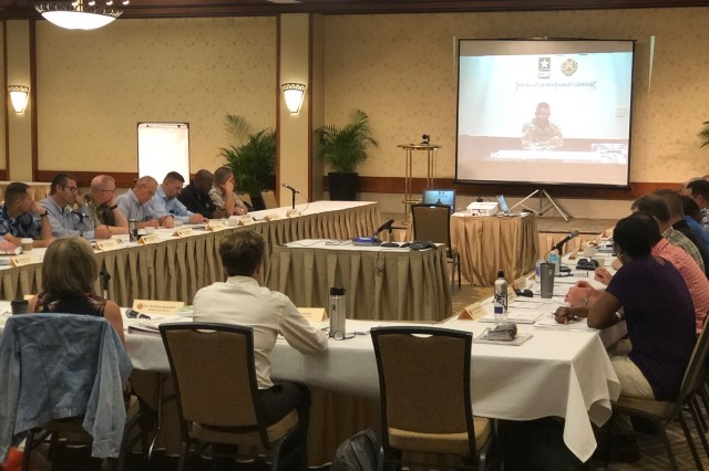 IMCOM Commanding General, Lt. Gen. Bradley A. Becker, speaks with IMCOM-Pacific garrison commanders, their deputies and IMCOM-Pacific staff via video teleconference during the IMCOM-Pacific Senior Leader Forum held in Honolulu Oct. 16-18.