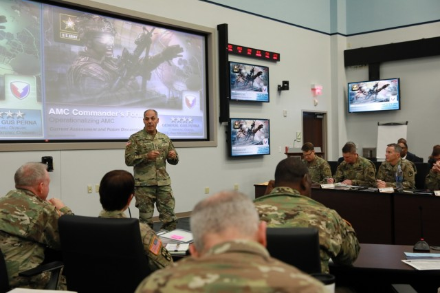 Army Materiel Command commander Gen. Gus Perna discusses reform issues during a semi-annual Commanders Forum attended by senior leaders from across the materiel enterprise. Perna encouraged leaders to solve problems, not symptoms. The forum was held at Redstone Arsenal, Oct. 23-24, 2018