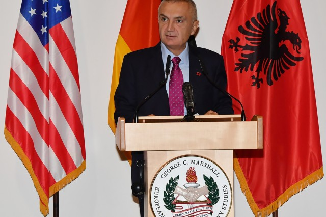 GARMISCH-PARTENKIRCHEN, Germany (Oct. 26, 2018) - The President of the Republic of Albania Ilir Meta speaks to 98 participants from 42 countries about security and Euro-Atlantic integration in the Balkans from the Albanian perspective at the George C. Marshall European Center for Security Studies Oct. 25. For more photos, visit the Marshall Center Photo Gallery. (DOD photo by Karl-Heinz Wedhorn/RELEASED)