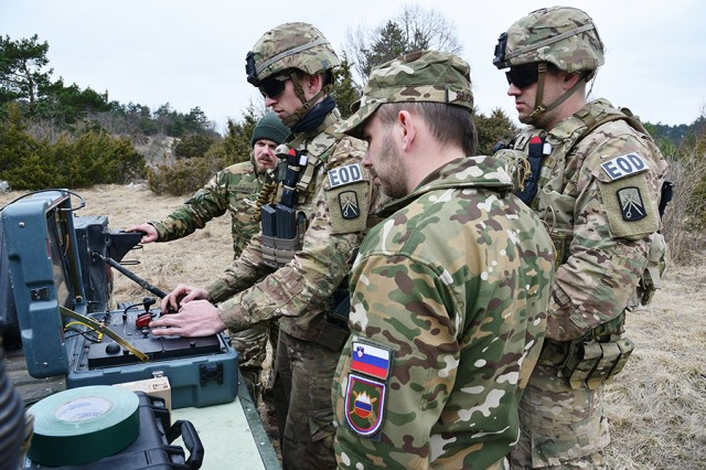 Soldiers assigned to the 702nd Ordnance Company (Explosive Ordnance Disposal), 16th Sustainment Brigade, and Slovenian allies operate a remote-controlled Talon robot during Vanguard Proof at Pocek Range in Postonja, Slovenia, on March 19, 2017.
