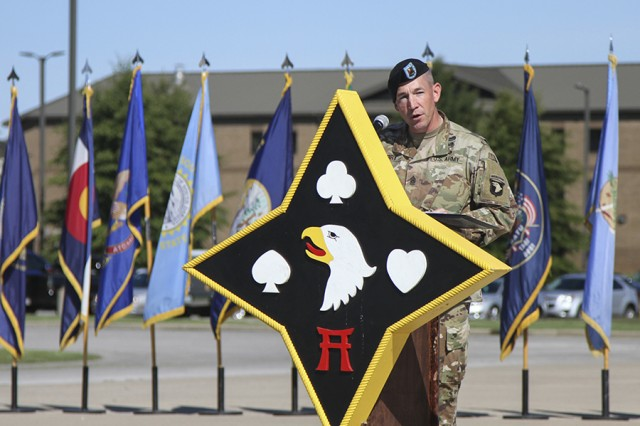 Command Sgt. Maj. Michael J. Perry III, outgoing command sergeant major for the 101st Airborne Division Sustainment Brigade, speaks about his time in the brigade during a change of responsibility ceremony at Fort Campbell, Ky., on Sept. 7, 2017.