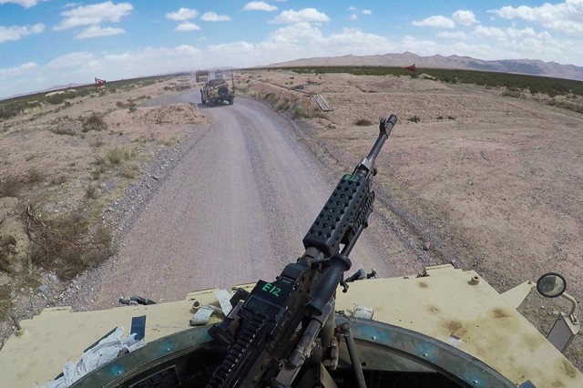 Soldiers assigned to Company J, 123rd Brigade Support Battalion, 3rd Armored Brigade Combat Team, 1st Armored Division, participate in convoy training at Camp McGregor, N.M., on March 15, 2018. The training prepared the unit for a rotation at the National Training Center at Fort Irwin, Calif. Convoy training stresses the importance of communication and develops effective strategies for future combat missions.