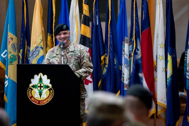 Outgoing Madigan Army Medical Center Command Sgt. Maj. Mark Bivins says farewell to the hospital on Oct. 26.