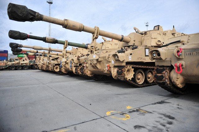 Paladins from the 2nd Armored Brigade Combat Team, 1st Infantry Division, from Fort Riley, Kan., line up at the Port of Gdansk, Poland, on Sept. 14, 2017, awaiting movement to Eastern Europe in support of Atlantic Resolve.