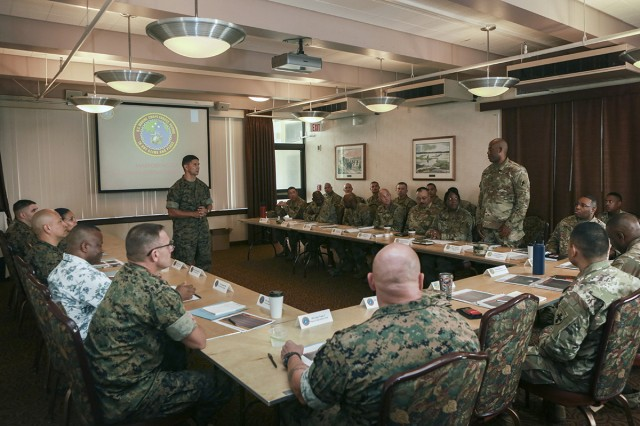 Senior enlisted leaders from the Army and Marine Corps gather for the second Joint Senior Enlisted Logistics Forum on June 28, 2018, at Marine Corps Base Hawaii. The forum, developed by the 8th Theater Sustainment Command, allows logistics leaders to improve relationships and better organize joint capabilities.