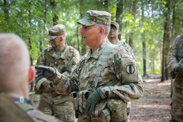 Gen. Stephen J. Townsend, commander of the Training and Doctrine Command, speaks with Officer Candidate School Soldiers from E Company, 3rd Battalion, 11th Infantry Regiment, at Fort Benning, Ga., on Aug. 15, 2018.