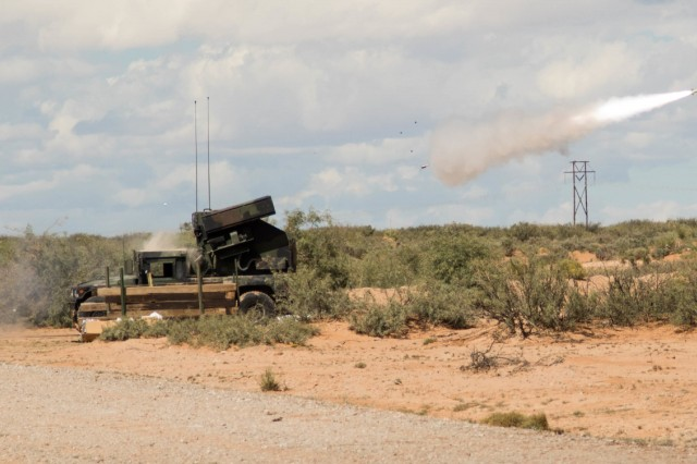 An Avenger Weapon System fires at a live-fire short-range missile range near White Sands Missile Range, New Mexico, Oct. 14, 2018. The system was operated by Soldiers with Charlie Battery, 1st Battalion, 174th Air Defense Artillery Brigade, Ohio Army National Guard.