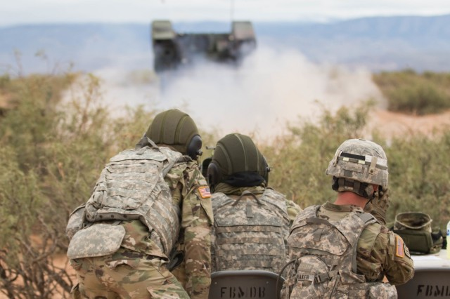 Soldiers with Alpha Battery, 1st Battalion, 174th Air Defense Artillery Brigade, Ohio Army National Guard fire an Avenger Weapon System during a live-fire short-range missile range near White Sands Missile Range, New Mexico, Oct. 15, 2018. . The range was part of a culminating training event focused on building proficiency with the Avenger Weapon System; a platform capable of targeting, engaging and shooting down low-flying enemy aircraft.