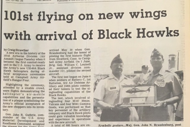 Front page of the June 1979 Fort Campbell Courier highlighting the arrival of the first Black Hawk helicopters fielded to the operational Army. Forty years ago this month, on Oct. 31, 1978, the U.S. Army accepted the first Black Hawk helicopters into its inventory.