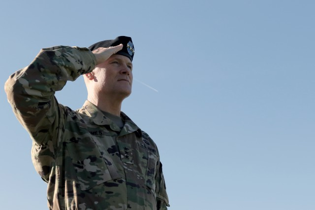 First Army Commanding General, Lt. Gen. Thomas S. James Jr., salutes during his assumption of command ceremony on Oct. 29 at Rock Island Arsenal, Ill.