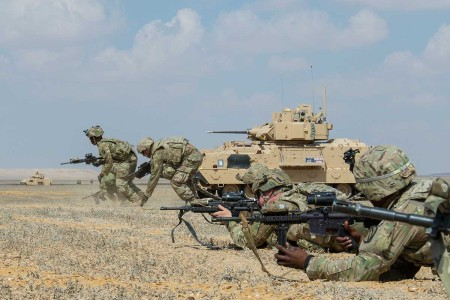 U.S Army Soldiers assigned to 155th Armored Brigade Combat Team, bound toward an objective during a rehearsal for a combined live-fire exercise near Alexandria, Egypt, Sept. 10, 2018.  The 155th ABCT is in the Arab Republic of Egypt taking part in Exercise Bright Star 18, a multilateral U.S. Central Command training exercise. Bright Star 18 provides an opportunity for U.S. Central Command to pursue better ways to address specific threats to regional security at the tactical, operational, and strategic levels with their Egyptian and other regional partners.