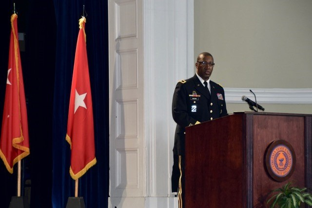 Brig. Gen. James S. Moore, 593rd Expeditionary Sustainment Command commanding general, speaks after he receives his Virginia State University Alumni ROTC Hall of Fame induction award Oct. 19 at VSU.