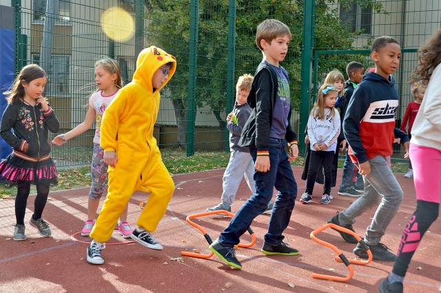 Wiesbaden youths enjoy a fitness activity during the Lights On After-School Day.