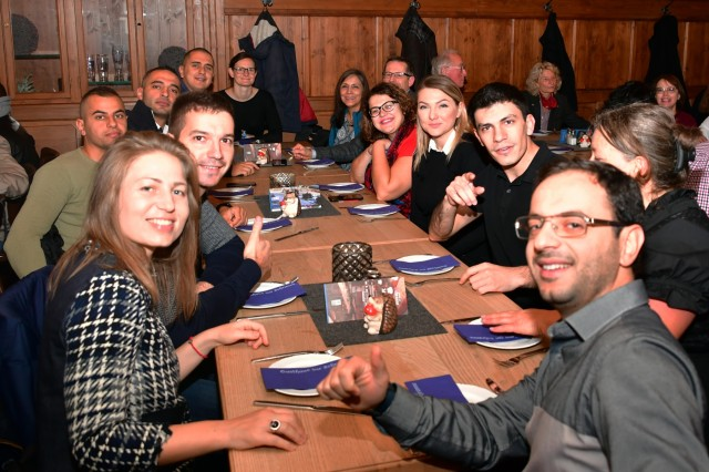 "Ninety-eight participants from 42 countries, who are attending the Marshall Center's Program on Applied Security Studies, enjoy a ""Bavarian Breakfast"" at a local restaurant here thanks to the Friends of the Marshall Center Oct. 28. (DOD photo by U.S. Army Master Sgt. Corey Dennis/RELEASED)"
