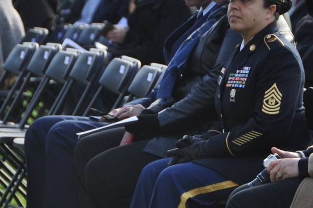 Army Command Sgt. Maj. Samara L. Pitre, garrison command sergeant major for U.S. Army Garrison Benelux, attends the World War I ceremony in Flanders Field Oct. 27, 2018, near Waregem, Belgium.