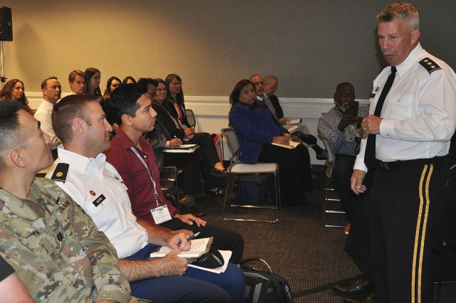 U.S. Army Corps of Engineers Los Angeles District Employees and military members listen as Lt. Gen. Todd Semonite, commanding general of the U.S. Army Corps of Engineers, talks about talent management, delivering the program and revolutionizing the Corps during a town hall meeting Oct. 18 at the Hispanic Engineer National Achievement Awards Conference in Pasadena, California.