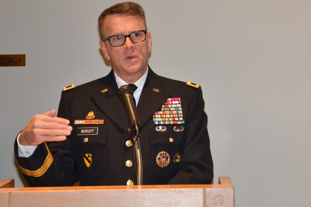 Brig. Gen. Bill Boruff addresses those in attendance during an October ceremony at Joint Base San Antonio-Fort Sam Houston, Texas. Boruff is the commanding general of the Mission and Installation Contracting Command at Fort Sam Houston.